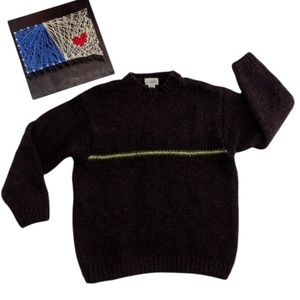 Vintage J. Crew Sweater Size L Hand Knit 100% Wool Fisherman Brown Pullover 90s